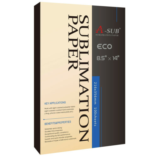 A-SUB Dye Sublimation Paper 8.5x14 125g 100 Sheets Inkjet Heat Transfer DIY Gift