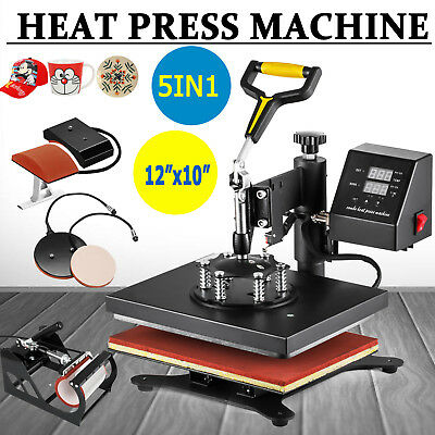 5 In 1 Heat Press Machine Swing Away Digital Sublimation T-shirt Mugplate Usa