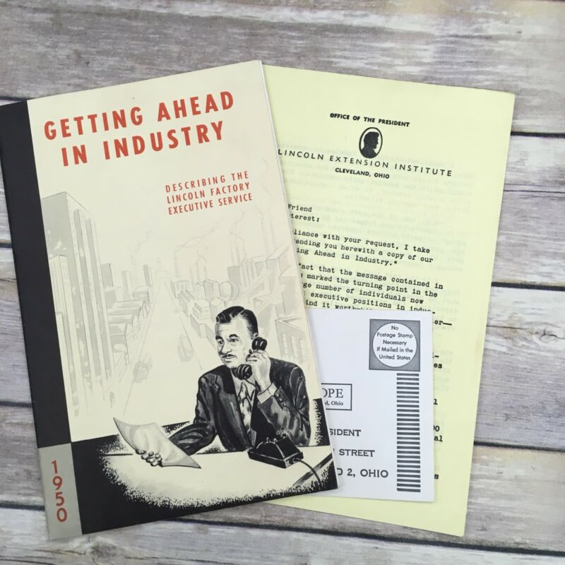 """Vintage 1950 Lincoln Institute """"Getting Ahead In Industry"""" Degree Pamphlet"""