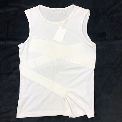 Helmut Lang Pleated Sleeveless Tank Sz L White (makeup Stains)