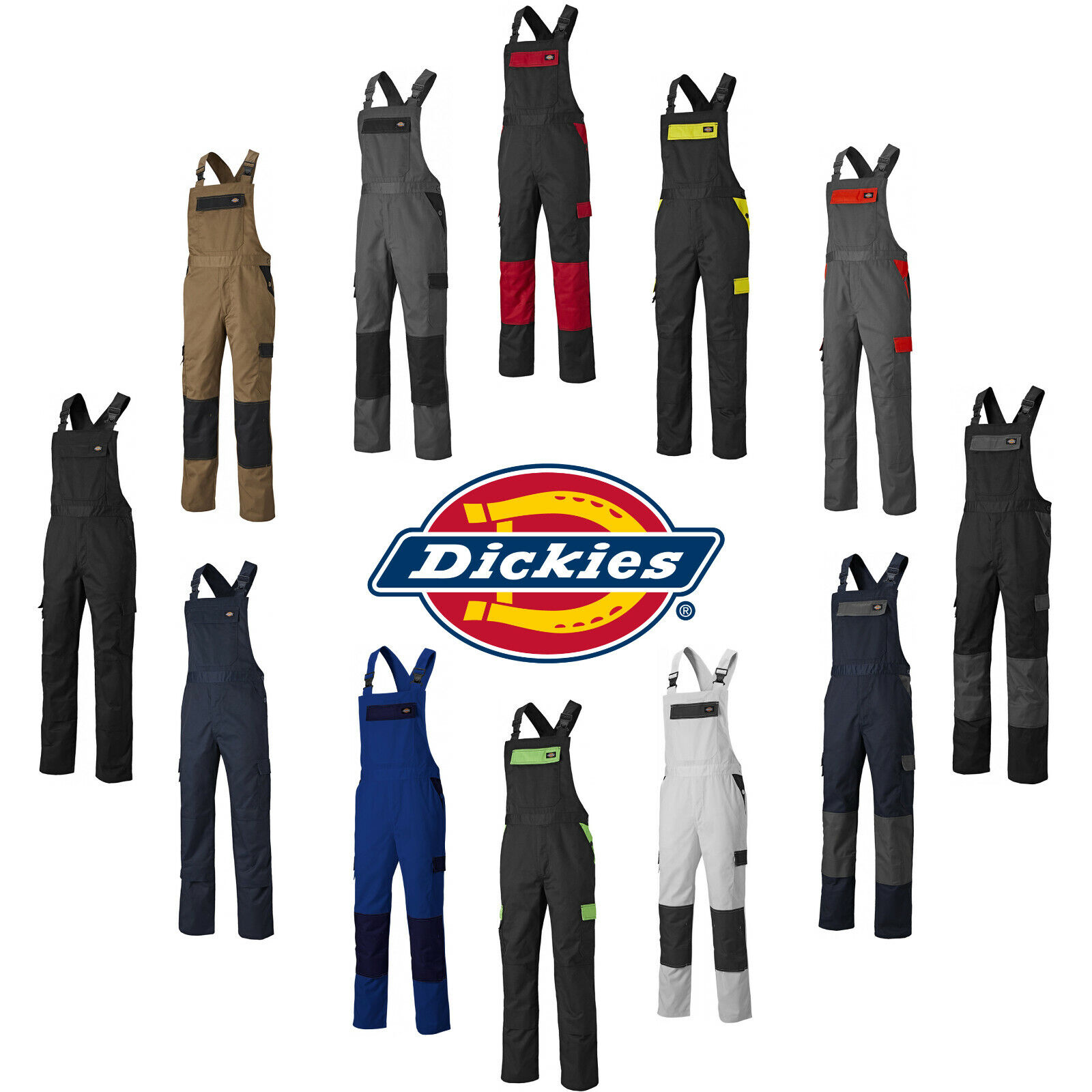 Dickies Everyday Bib /& Brace Multiple Poche Combinaison Bleu marine//gris toutes tailles