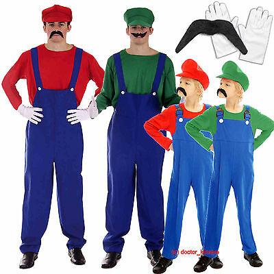 Mario Luigi Fancy Dress Plumber Workman Costume Mens Adult Boys Gloves Moustache