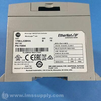 Allen Bradley 1766-l32bwa Micrologix 1400 32 Point Controller Usip