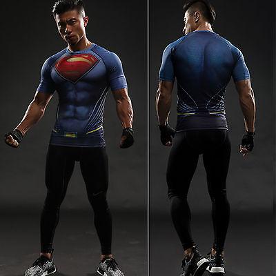 Batman VS Superman Herren Spandex Kurzarm T-Shirt Shirt Cosplay Kostüm Fitness