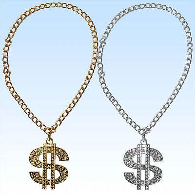 Kette mit Dollar Medaillon für Big Daddy Gangsta Rapper Kostüme zum Protzen (Silber Dollar Kostüm)
