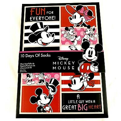 DISNEY MICKEY MOUSE 10 Days Of Socks Mystery Advent Calendar Womens Size 4-10