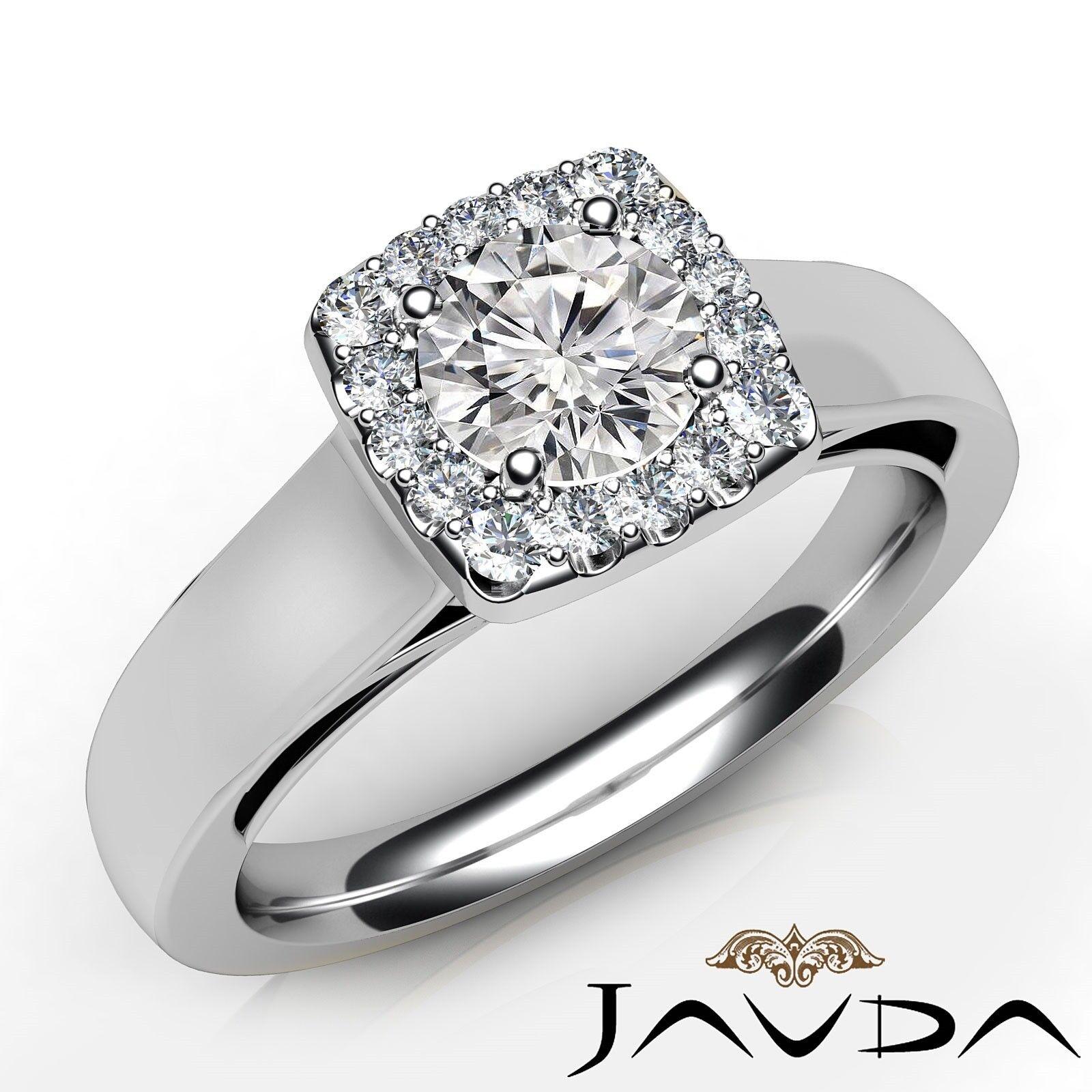 0.65ctw Halo Pave Set Round Diamond Engagement Ring GIA H-VVS2 White Gold Rings