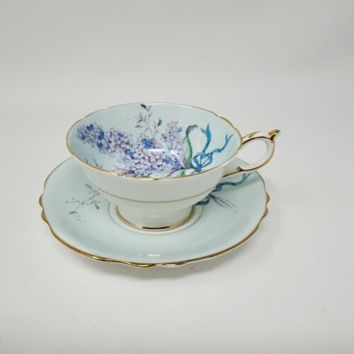 CRACK on both CUP & SAUCER Antique Vintage Paragon Light Blue Lilac Teacup