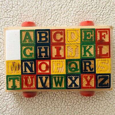 Alphabet Wooden Blocks Building Abc Numbers Block Letters Come In PULL-WAGON-TOY