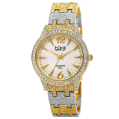 New Women's Burgi BUR127TTG Mother of Pearl Diamond Dial Pattern Bracelet Watch