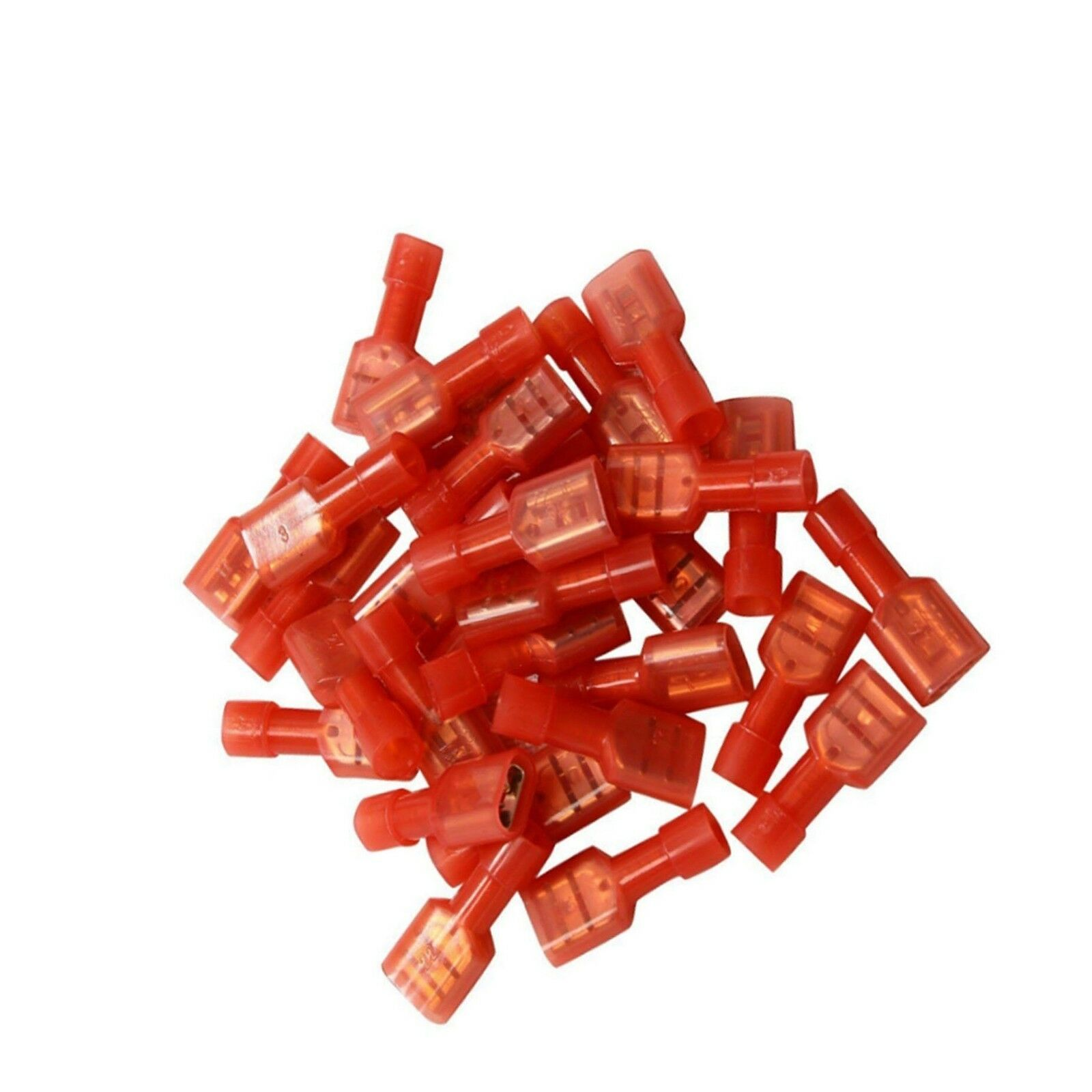 """Red 100x 1//4/"""" Fully Insulated Female Electrical Spade Crimp Connector Terminals"""