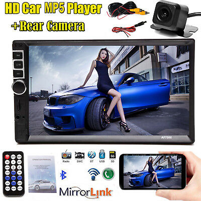 Double Din Car Stereo With Backup Camera Touch Screen Radio Mirror Link For