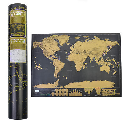 Big Travel Edition Scratch Off World Map Poster Luckies Personal Log USA Store
