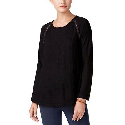 (NWT Style Co Crochet-Trim Thermal Tunic Deep Black SIZES; S,M,L,XL RETAIL: $49)