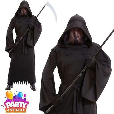 Mens Halloween Grim Reaper Phantom of Darkness Robe Fancy Dress Costume Adult - Phantom Of Darkness Costume