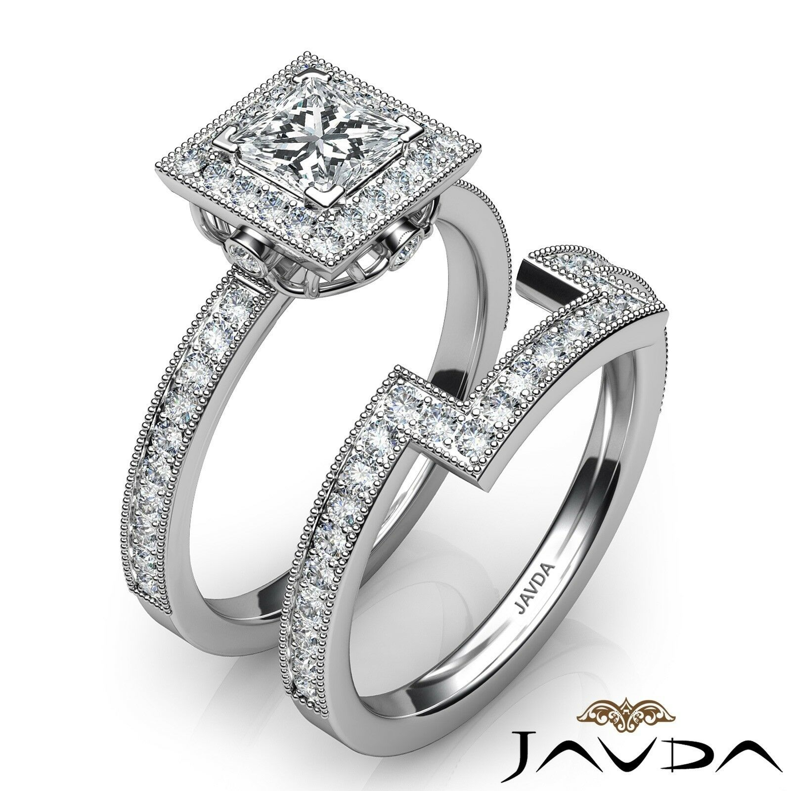 1.9ct Milgrain Edge Bridal Set Princess Diamond Engagement Ring GIA F-VS2 W Gold 2
