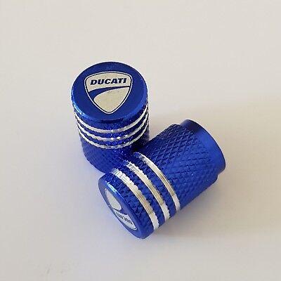 DUCATI BLUE Wheel Valves Tire Dust Caps universal Fit Fits all Bikes Set of 2