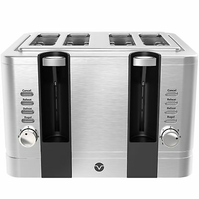 Vremi 4 Slice Toaster - Stainless Grit one's teeth Wide Slots Removable Crumb Tray