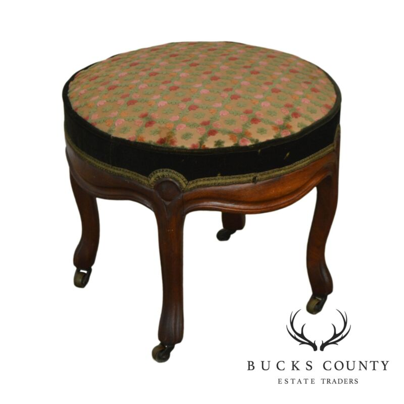 Victorian Antique Walnut - Round Footstool