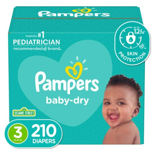 Pampers Baby-Dry Extra Protection Diapers, Size 3, 210 Count