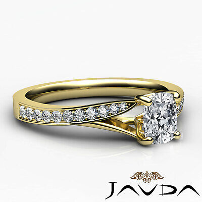 Split Shank Pave Setting Cushion Shape Diamond Engagement Ring GIA F VS1 0.68Ct 9