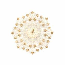 Vintage 60s White + Gold Starburst Scrolling Grape Leaf Kitsch Large Wall Clock