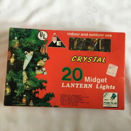 Vintage Crystal 20 Midget Lantern Lights Indoor Indoor & Outdoor Use Red 15.1 Ft