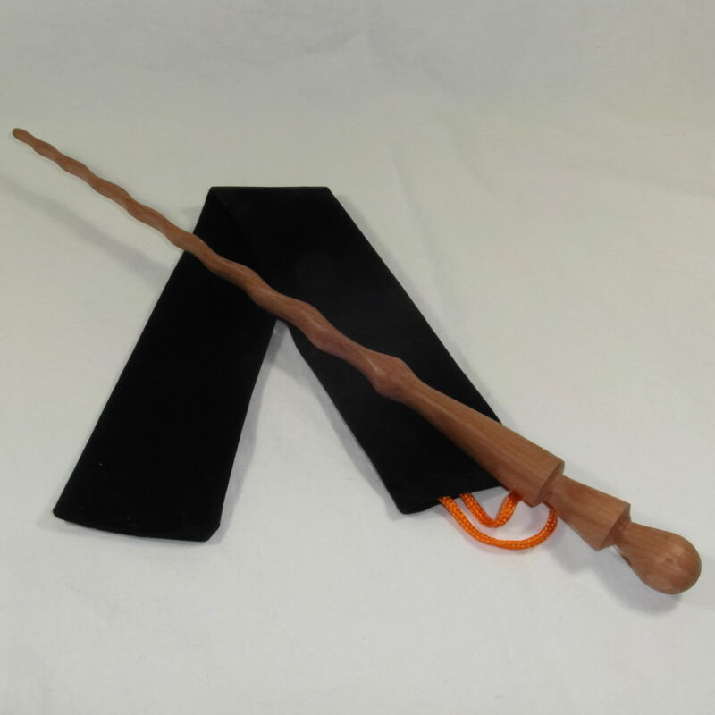 """16"""" Hand Carved Waves Mahoe Wood Magic Wand Wizard Witch Wicca w/Free Velvet Bag"""