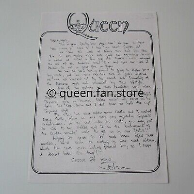 QUEEN : Vintage John Deacon Summer 1975 Letter Official Fan Club Newsletter , usado segunda mano  Embacar hacia Spain