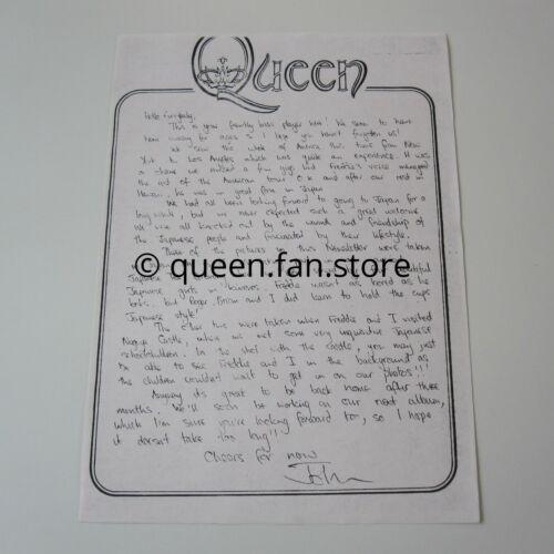QUEEN : Vintage John Deacon Summer 1975 Letter Official Fan Club Newsletter