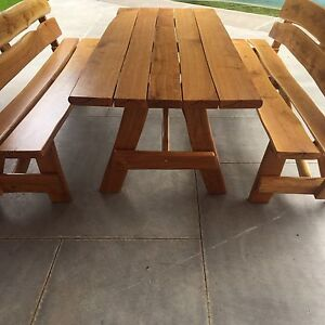 Outdoor Patio Oak Dining Table and 2 Matching Benches