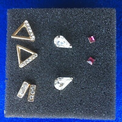 SPARKLY STUD EARRINGS 4 pairs Gold and Silver Colour Clear and Pink Jems Pretty  ()