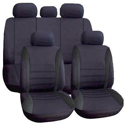 Universal Car Seat Covers Full Set ALL Black Washable For Audi A4 A5 A6 Q3 Q5 Q2
