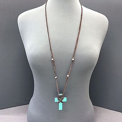 Bohemian Long Brown Leather Turquoise Stone Cross Design Pendant (Brown Turquoise Pendant)