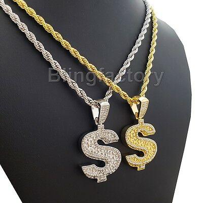 Hip Hop Iced out Bling Dollar Money Sign $ Pendant & 4mm 24