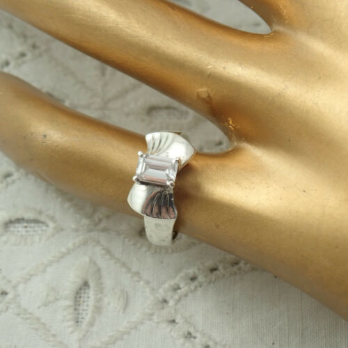 Vintage Emerald Cut CZ Diamonique Sterling Silver 925 DQ Size 4 3/4 Ring 2.9g