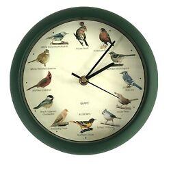 Vtg Singing Bird Clock 8 1/2 Green Desktop Wall 12 Different Bird Songs 1997