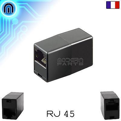 Prolongateur de Cable Réseau Ethernet RJ45 Noir Raccord Rallonge Coupleur LAN