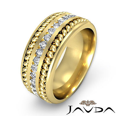 Pave Diamond 9.5mm Men Wedding Band 18k Yellow Gold Rope Eternity Solid Ring 1Ct