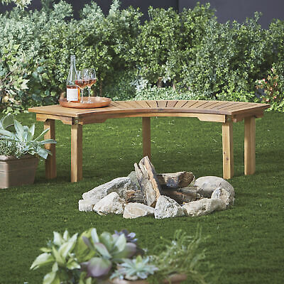 Curved Acacia Wood Backless Outdoor Firepit Garden Home Bench Seat- Natural ()