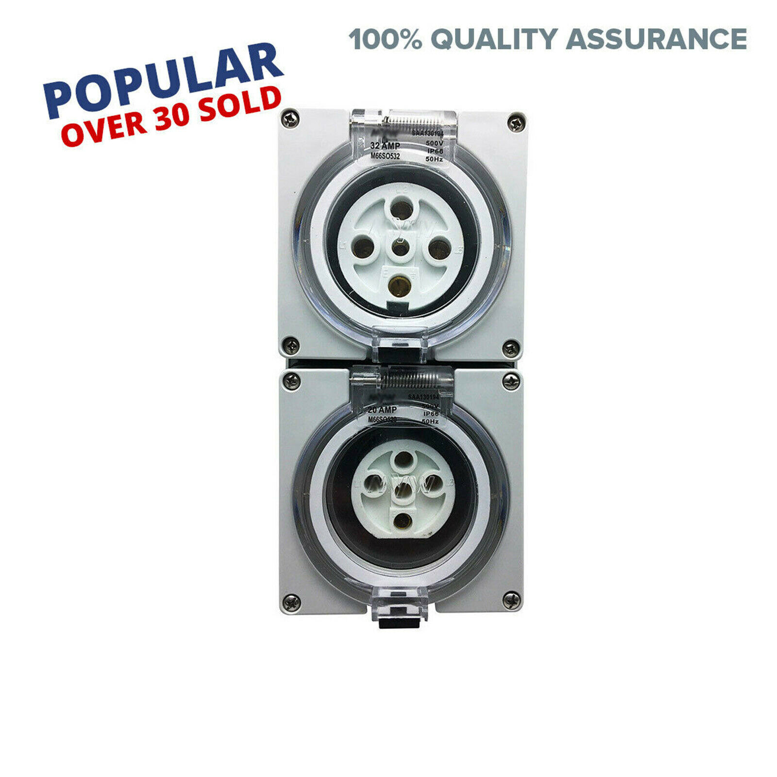 2 x 5 Pin 32 Amp 3 phase Socket Outlet IP66 Weatherproof Industrial Pole Only