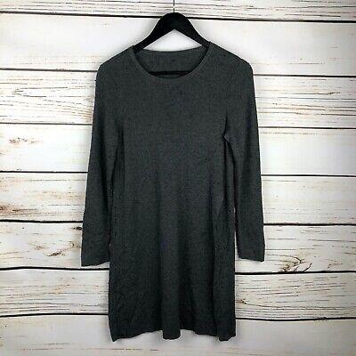 Eileen Fisher Dress Long Sleeve Scoop Neck Side Slit Knit Merino Wool Gray