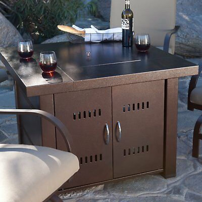 Outdoor Fire Pit Propane Gas Square Steel Bronze Finish Patio Deck New