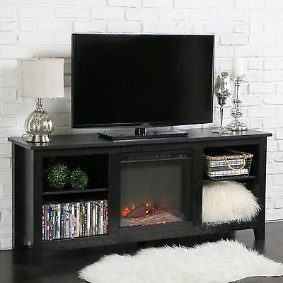 Fireplace Media Console TV Stand Electric  Black Adjustable Shelves  New