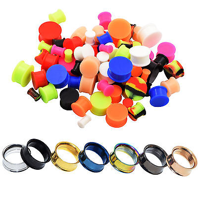 Pair Stainless Steel Double Flare Flesh Tunnel Ear Plugs Expander Ear Gauge Sale Double Flare Ear Plugs Tunnel
