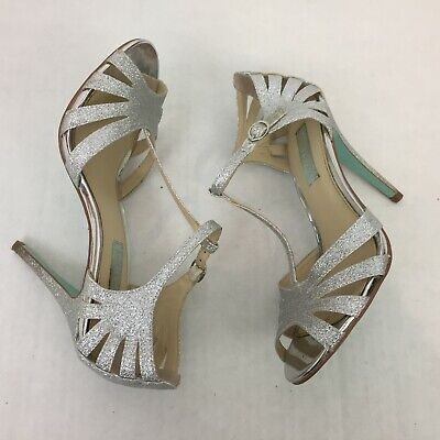 Blue by Betsey Johnson Tee Women's Shoes Size 8 Silver Glittery Heels Formal