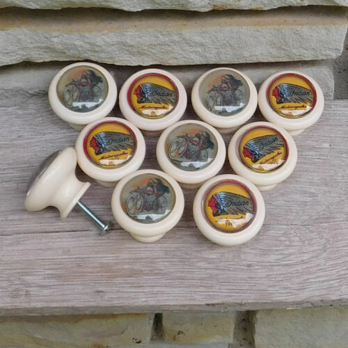 Indian Motorcycle LOT of 10 2-Different logo emblem Cabinet Knobs/Pulls/Handle