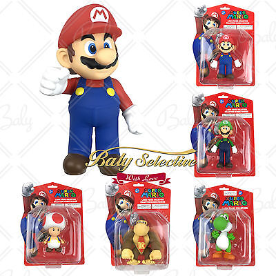 "Super Mario 5"" 9"" Action Figure Collection Luigi Yoshi Toad Donkey Kong Pack"