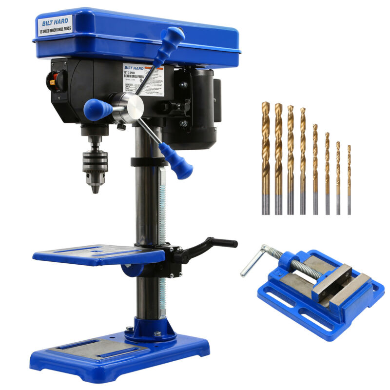 BILT HARD 10 inch Bench Drill Press 12 Speed with Drill Vise Bits, CSA Certified