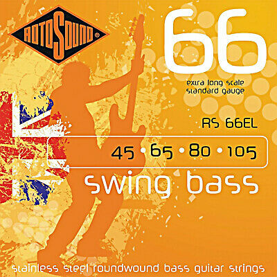 Rotosound RS66EL Roundwound 4 String Extra Long Scale Bass Guitar Strings 45-125 Extra Long Scale